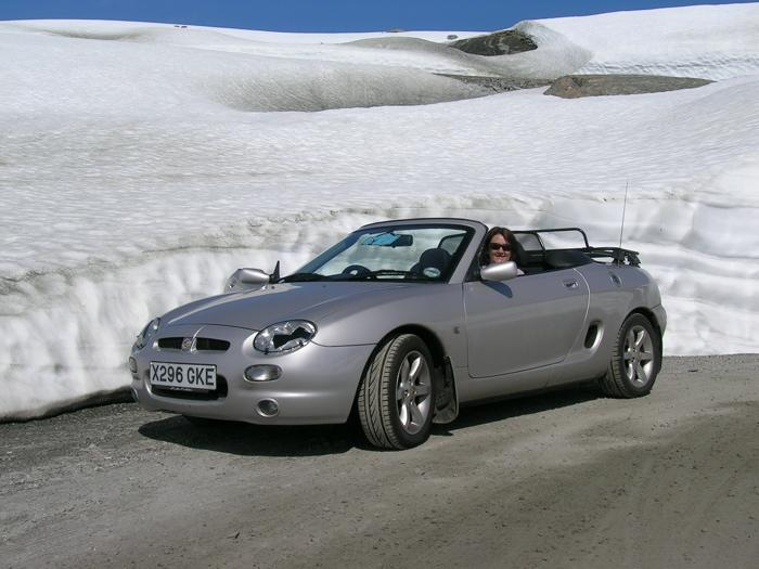 MGF against snow bank