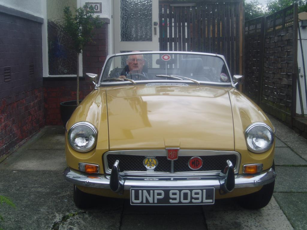 My Grandfather in my 1973 MGB, Beatrice.